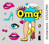 fashion patch badges with lips  ... | Shutterstock .eps vector #525222985