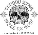 skull with tribal tattoo and... | Shutterstock .eps vector #525225049