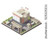 factory territory isometric... | Shutterstock .eps vector #525225211