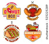 isolated colored fast food... | Shutterstock .eps vector #525225289