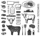 black vintage steak icon set... | Shutterstock .eps vector #525226831