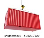 red cargo container hoisted by... | Shutterstock . vector #525232129