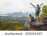 hikers with backpacks relaxing... | Shutterstock . vector #525241537