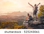 hikers with backpacks relaxing... | Shutterstock . vector #525243061