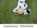 after work .. relaxing on a... | Shutterstock . vector #525244165