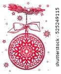 ornate christmas greetings.... | Shutterstock .eps vector #525249115