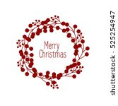 christmas wreath and sign merry ... | Shutterstock .eps vector #525254947
