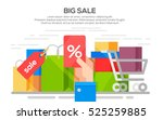 sale banner concept with bag ... | Shutterstock .eps vector #525259885
