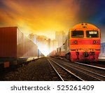 industries container trains and ... | Shutterstock . vector #525261409