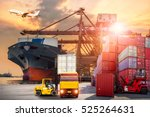 truck transport container on... | Shutterstock . vector #525264631