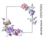 wildflower rose flower frame in ... | Shutterstock . vector #525270241