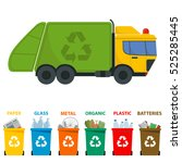 different colored recycle waste ... | Shutterstock .eps vector #525285445