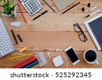 office desk table with office...   Shutterstock . vector #525292345