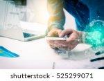 double exposure of businessman... | Shutterstock . vector #525299071