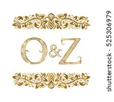 o and z vintage initials logo... | Shutterstock .eps vector #525306979