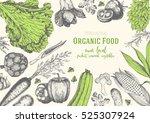 vegetables top view frame.... | Shutterstock .eps vector #525307924