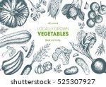 vegetables top view frame.... | Shutterstock .eps vector #525307927
