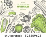 vegetables top view frame with... | Shutterstock .eps vector #525309625