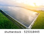 solar panel with rice field in... | Shutterstock . vector #525318445