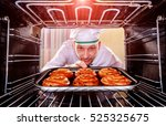 chef prepares pastries in the... | Shutterstock . vector #525325675