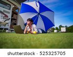 woman on the grass  looking at... | Shutterstock . vector #525325705