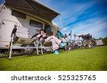woman sitting on a chair near... | Shutterstock . vector #525325765