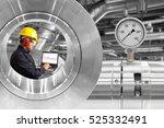 mechanic using computer for... | Shutterstock . vector #525332491