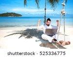 businessman freelance on beach... | Shutterstock . vector #525336775