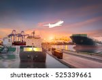 container ship in import export ... | Shutterstock . vector #525339661