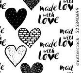 monochrome romantic seamless... | Shutterstock .eps vector #525340699