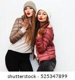 fashion portrait of positive... | Shutterstock . vector #525347899