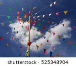 colorful pennants on sky... | Shutterstock . vector #525348904