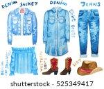 denim jacket  denim shirt dress ... | Shutterstock . vector #525349417