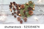 heart made out from pine cones... | Shutterstock . vector #525354874