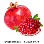 pomegranate isolated on white... | Shutterstock . vector #525355975
