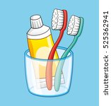 two toothbrushes and toothpaste ... | Shutterstock .eps vector #525362941