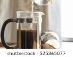 coffee brewing in a french... | Shutterstock . vector #525365077