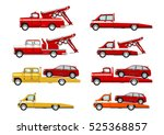 cartoon tow truck set. side... | Shutterstock .eps vector #525368857