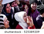 idomeni  greece   march 3  2016.... | Shutterstock . vector #525389209