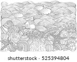 alone house and shells ... | Shutterstock .eps vector #525394804