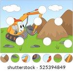 funny cartoon excavator.... | Shutterstock .eps vector #525394849