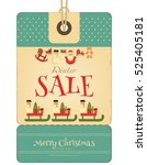 christmas sale tag in retro... | Shutterstock .eps vector #525405181