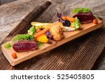 fine dining venison meat steak... | Shutterstock . vector #525405805