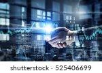 partners shaking hands . mixed... | Shutterstock . vector #525406699
