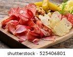 antipasti platter on wooden... | Shutterstock . vector #525406801