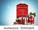 christmas gifts and white felt... | Shutterstock . vector #525414604