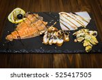 delicious smoked salmon fish... | Shutterstock . vector #525417505