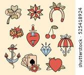 set of old school tattoos. hand ...   Shutterstock .eps vector #525418924