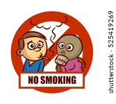 prohibition sign no smoking... | Shutterstock .eps vector #525419269
