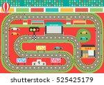sport car racing track play mat ...   Shutterstock .eps vector #525425179